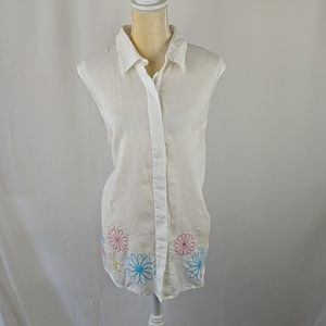 100% Irish linen sleeveless top with embroidery